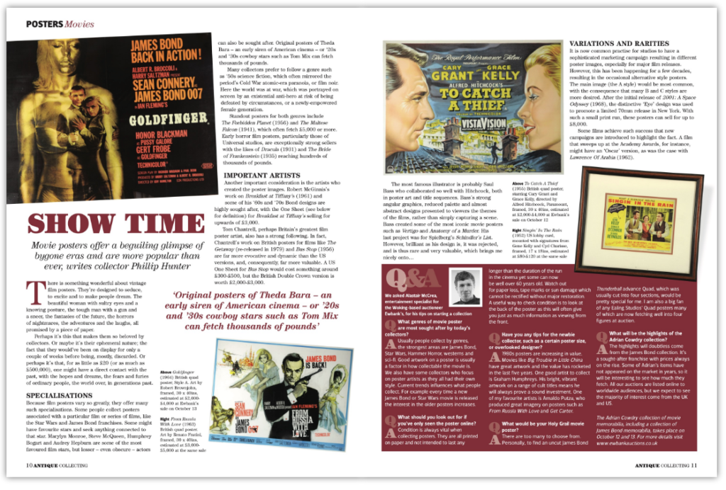 An article on collecting movie posters in Antique Collecting magazine