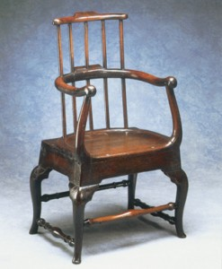Unusual antique furniture. Oak armchair.