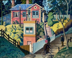 Ethelbert White, RWS (1891-1972). The Level Crossing, oil on canvas (mid-1920s)