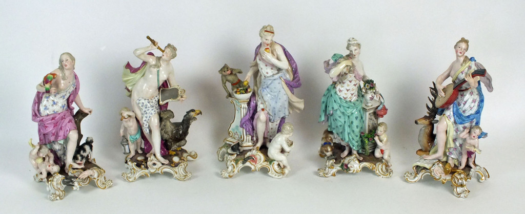 Meissen porcelain figures, allegorical of the senses