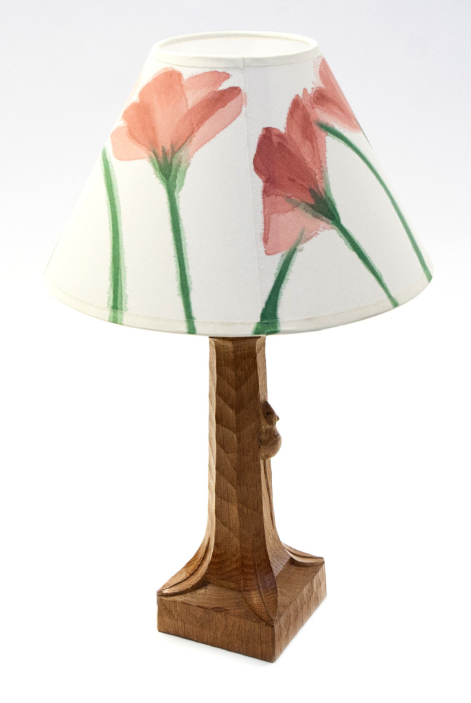 Table lamp by Robert 'Mouseman' Thompson