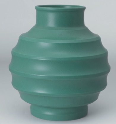 Keith Murray matt green glaze earthenware vase