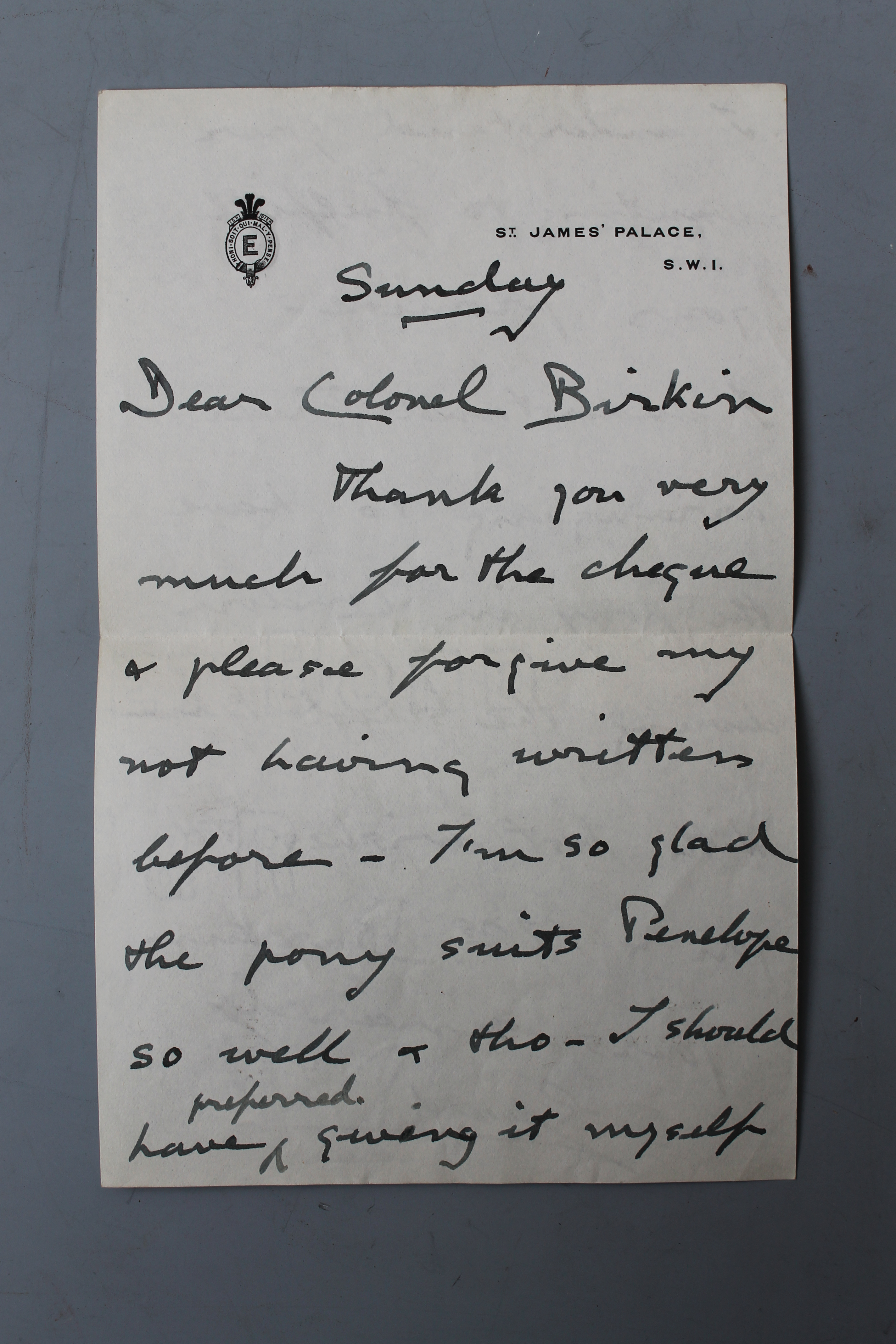 Royal letter from Edward VIII