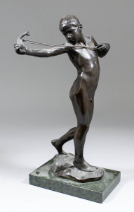 Previous Lot Next Lot Back to full catalogue Description Lot 692 Tuesday 11 Aug, 2015 - 10.00am  William Reid Dick (1879-1961) - brown patinated bronze figure - The Catapult £2300
