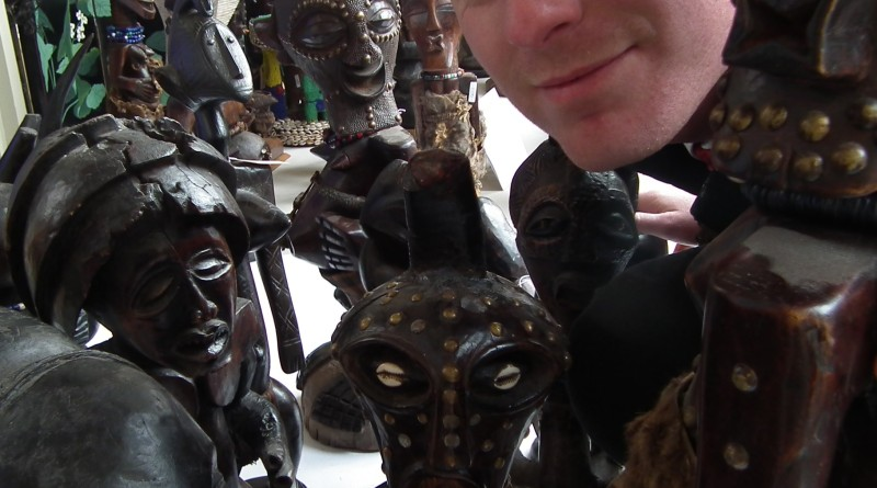 Chris Large with some of the tribal art to be sold on November 5