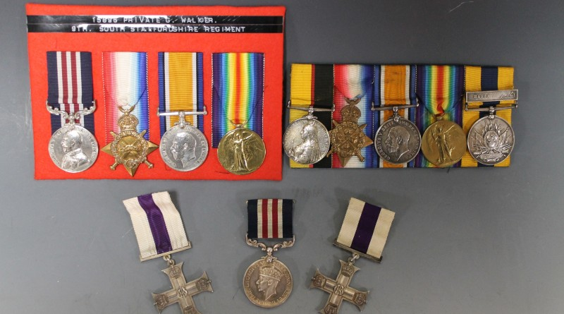 A collection of medals for sale at Cuttlestones'