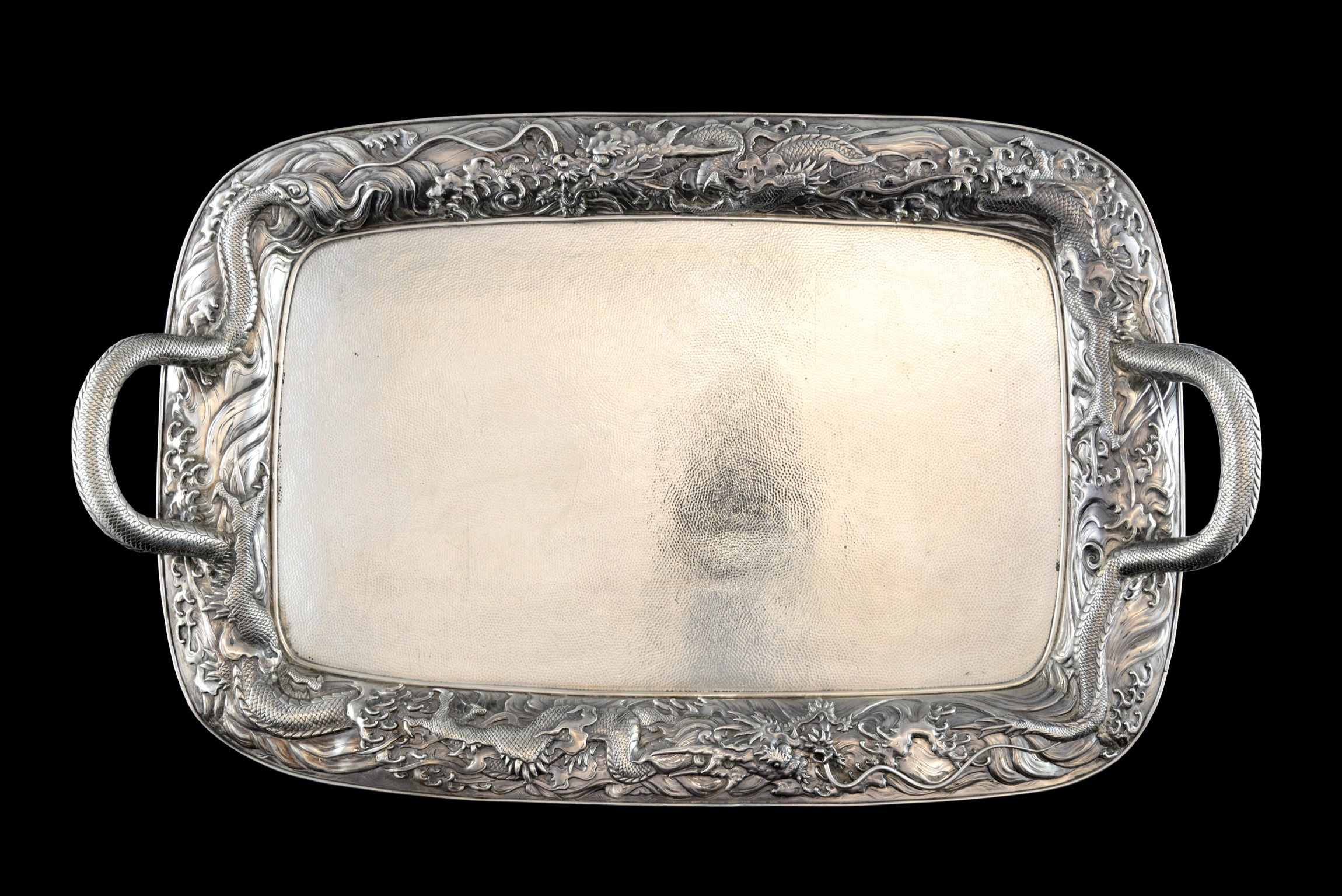 Japanese Meiji period silver twin-handled tray