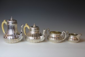 A set of silver teaware