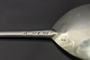 Initials on the Elizabethan silver spoon