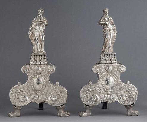 Charles II silver andirons