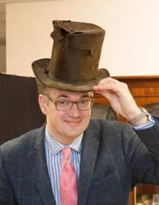 Charles Hanson with two hundred year old top hat