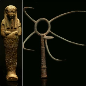 Egyptian shabtis and a rare Etruscan bronzed iron meat hook