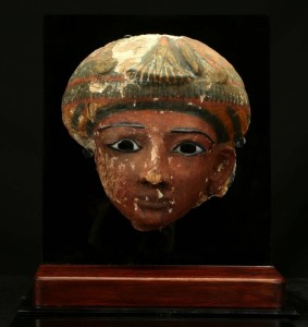 Egyptian polychrome wood mummy mask