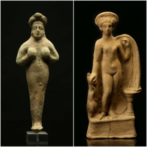 Roman terracotta figure of Aphrodite and a Mesopotamian terracotta figure of Astarte