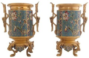 Pair of Napoleon III gilt bronze and champlevé enamel vases, possibly by Barbedienne, French,