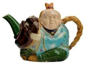 A Minton majolica teapot, c1873-88