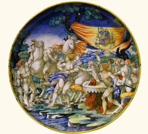large Maiolica footed dish, attributed to the 'Painter of the Apollo Basin'