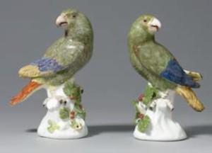 South American parrots by Johann Joachim Kaendler, Meissen, c1738-42