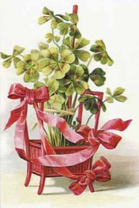 An Easter card in the form of the four-leaf clover