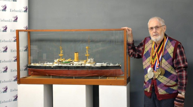 Brian King with one of his model boats