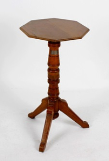 """turned wooden table has a planked octagonal shaped top with moulded edge, and is inscribed on the underside with """"Made from the Old Temeraire"""""""