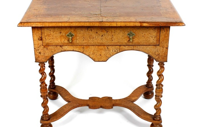 An antique walnut side table