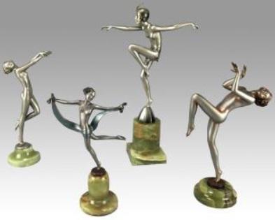 Art Deco cold painted bronze dancing girls by Josef Lorenzl