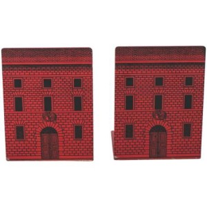 Holly Johnson Antiques - a pair of architectural bookends by Piero Fornasetti. Depicting red stone house fronts. Enamelled metal, lithographically printed. Label to base, Italy, circa 1950