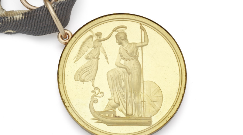 rare gold medal commemorating the victory of the British Fleet at the Battle of the Glorious First of June in 1784 during the French Revolutionary Wars