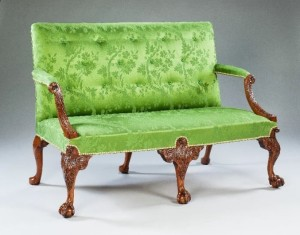 George II carved walnut settee