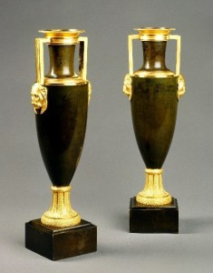French Empire bronze and gilt vases
