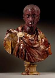 Horace (65 BC - 8 BC), Rome, 17th century Cicero (106 BC - 43 BC), Rome, 17th century Red Imperial Porphyry & Breccia Pernice marble
