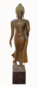 Large bronze figure of a walking Buddha wearing a sanghati £3000-5000