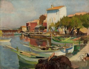 Eugene Narbonne (1885 – 1973) 'Fishing boats in the harbour at Brusc'