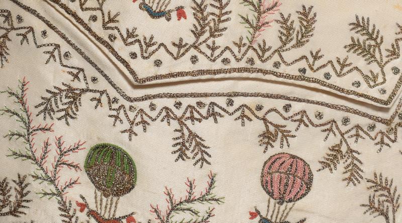 Hot-air balloon detail on 18th century waistcoat
