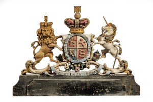 Painted and carved royal coat of arms, early C19th