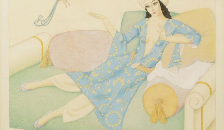 Oriental woman on a couch by Edmund Dulac