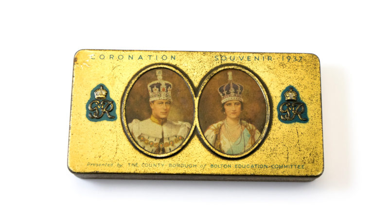 commemorative tin made to celebrate the Coronation of George the Sixth