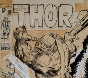 1968 Marvel comic original cover artwork of Thor