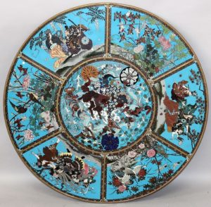 A large Japanese Meiji period cloisonné plaque, 30.3in diameter. Sold for £4,100
