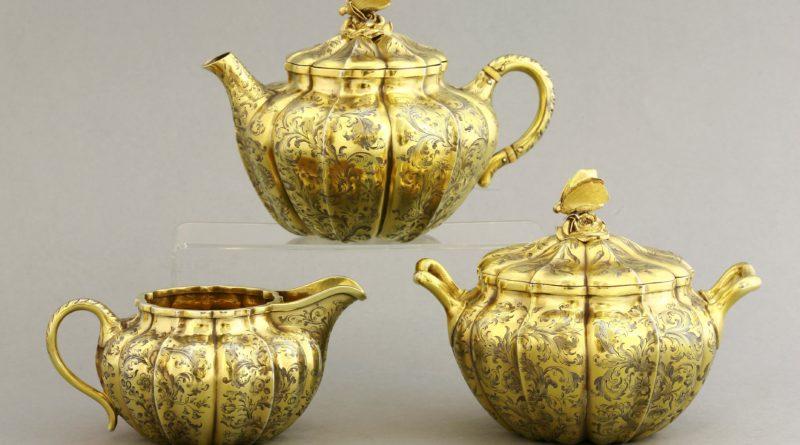 A silver gilt tea set