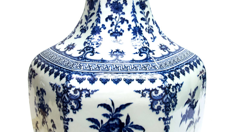 A rare Chinese blue and white vase