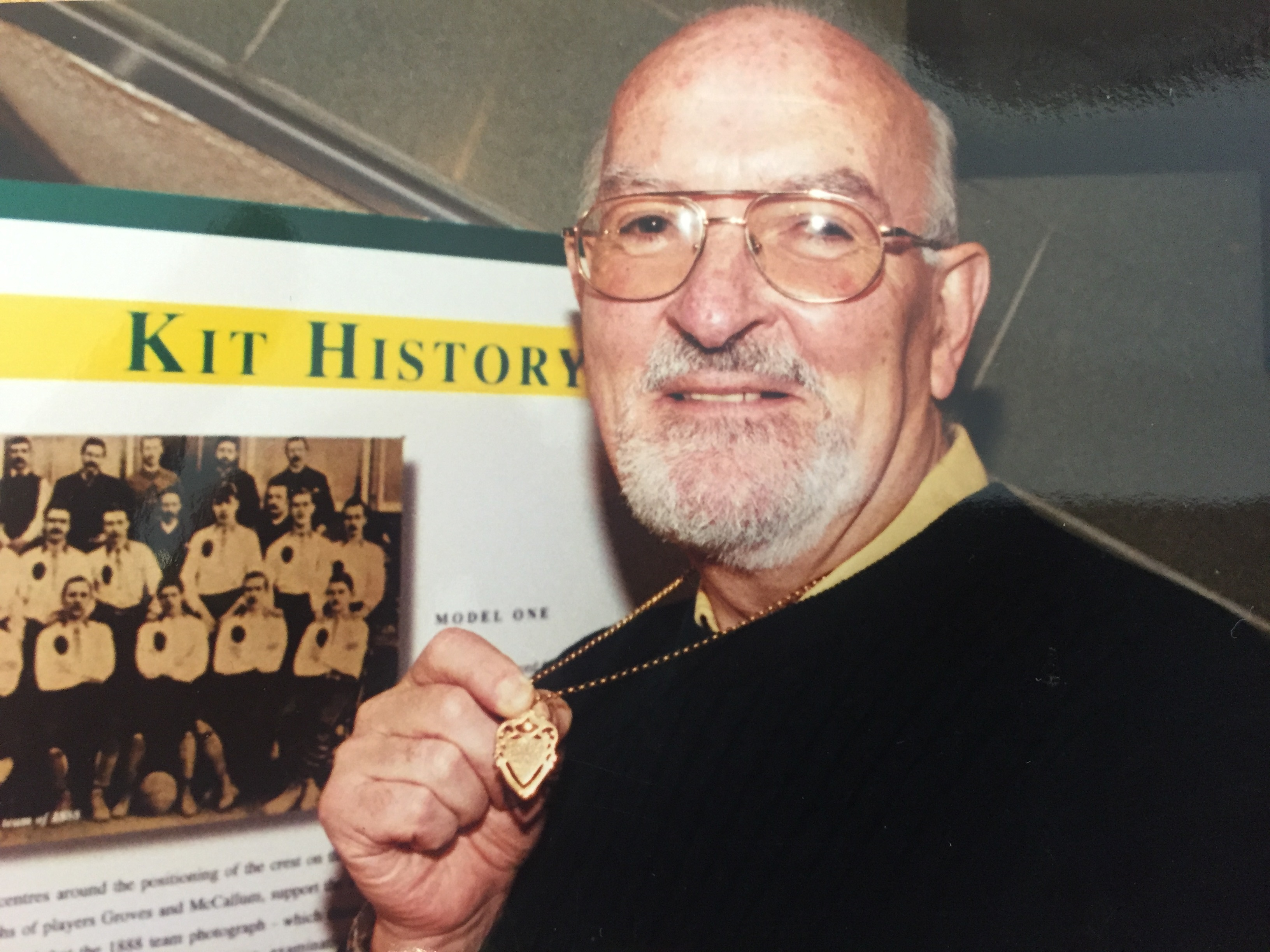 Bill McLaughlin with the medal his grandfather, James McLaughlin, won in Celtic's first ever cup win in season 1888-89