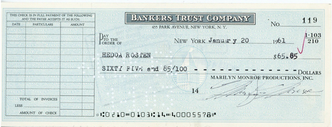Marilyn Monroe cheque