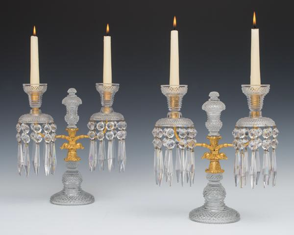 "A fine pair of ormolu mounted and cut-glass Regency period candelabra, English, 12"" high x 11½"" wide, c 1815, £4,800 from Fileman Antiques"