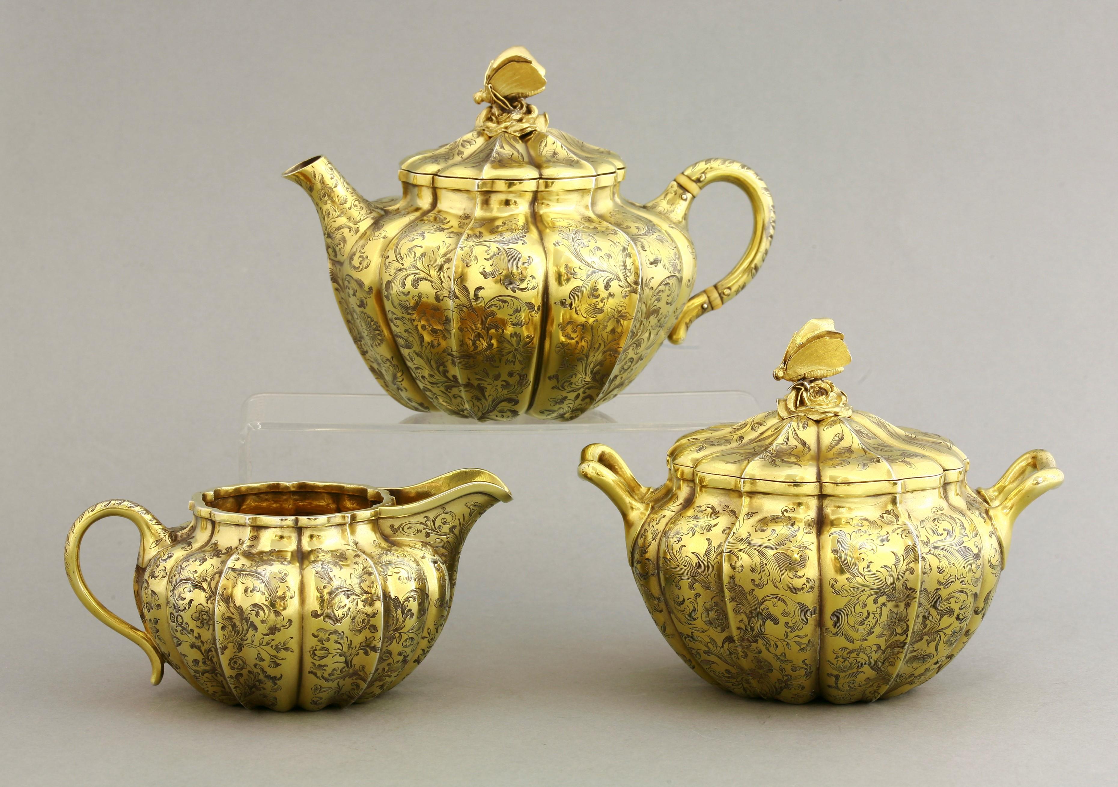 A rare silver tea set