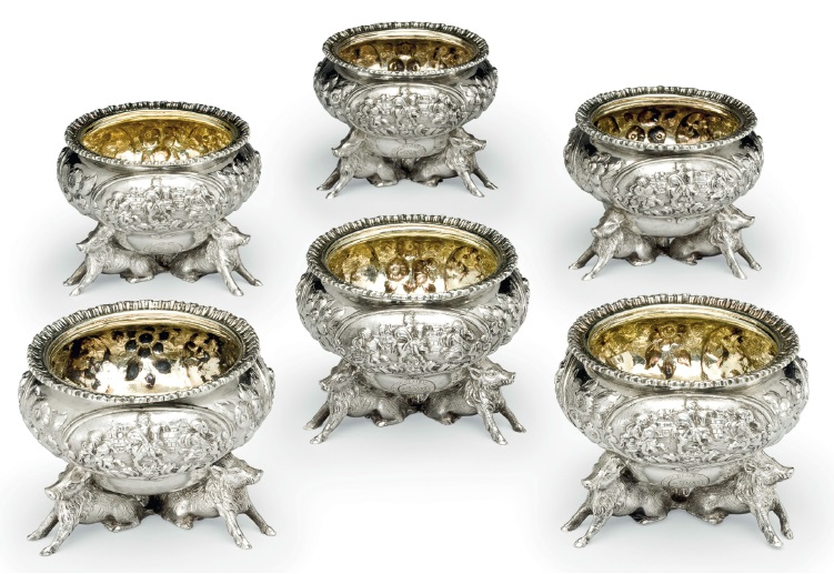 six early Victorian silver salt ce