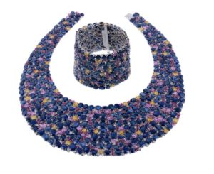 sapphire and diamond bib necklace and matching bracelet by acclaimed fine gemstone and diamond jeweller Assil New York