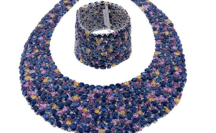 sapphire and diamond bib necklace and matching bracelet