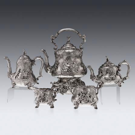 Victorian solid silver 5ps Teniers tea & coffee set